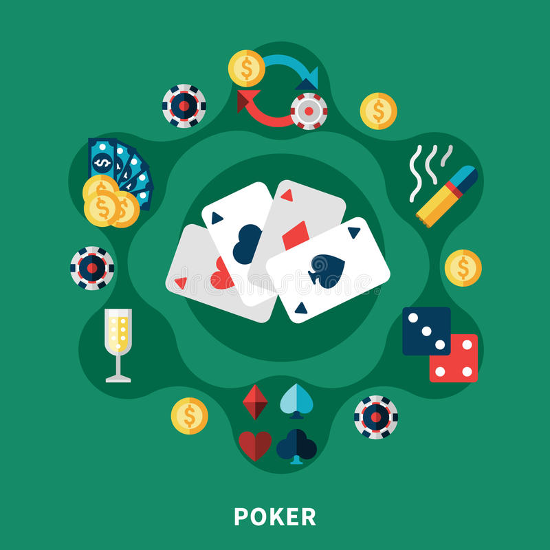Casino Poker Icons Round Composition. With cards coins dice symbols flat vector illustration vector illustration