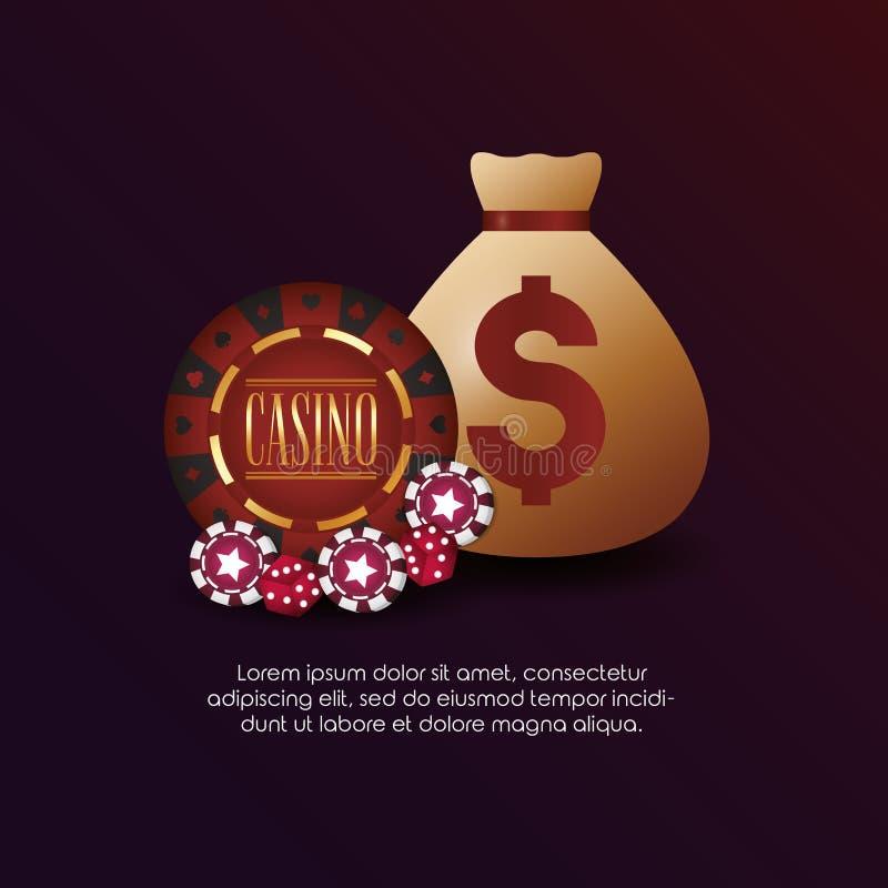 Casino poker money bag chips dices. Vector illustration vector illustration