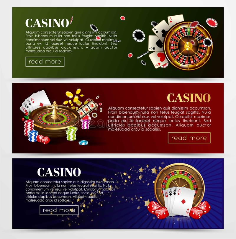 Casino poker roulette cards, dice vector web banners templates. Casino poker web banners templates. Design of gambling dice, roulette game chips and playing vector illustration