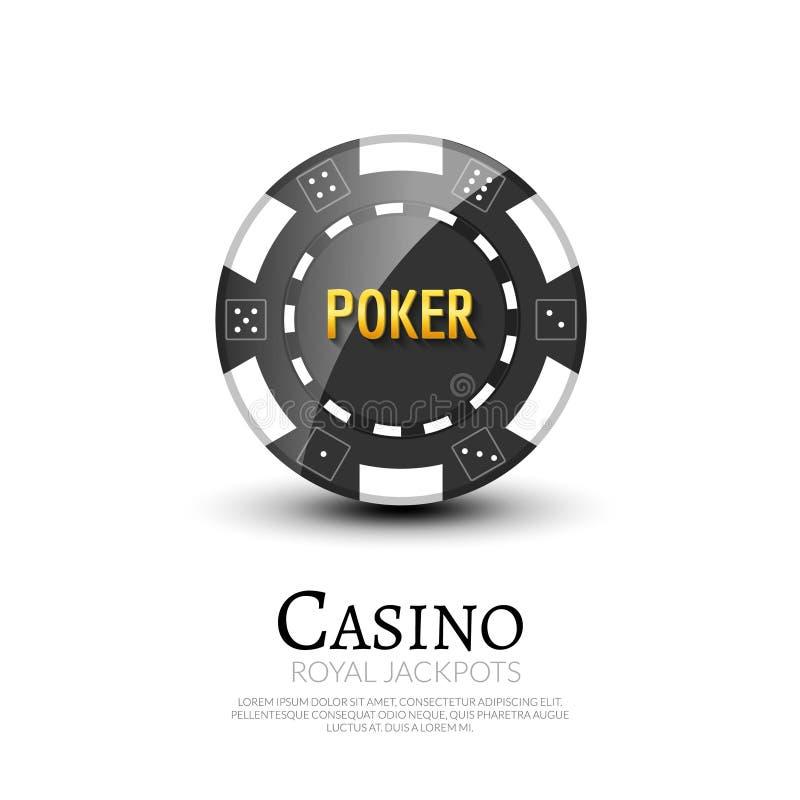Casino poker ship poster design template. Poker chip design vector illustration.  royalty free illustration
