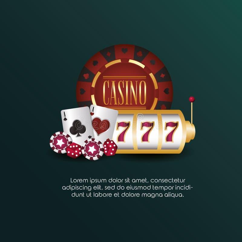 Casino poker slot machine cards and chips game. Vector illustration stock illustration