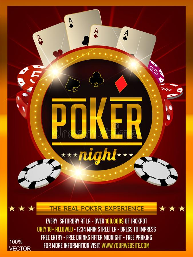 Casino poker tournament invitation design. Gold text with playing chip and cards. vector illustration