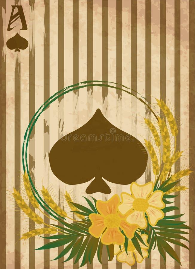 Casino Poker vintage spades card , vector. Illustration vector illustration