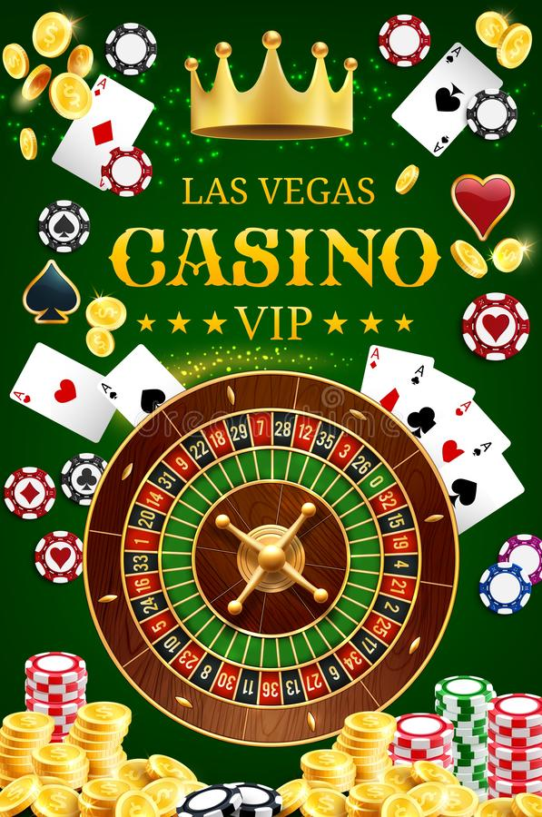 Casino poker wheel of fortune and gamble cards stock illustration