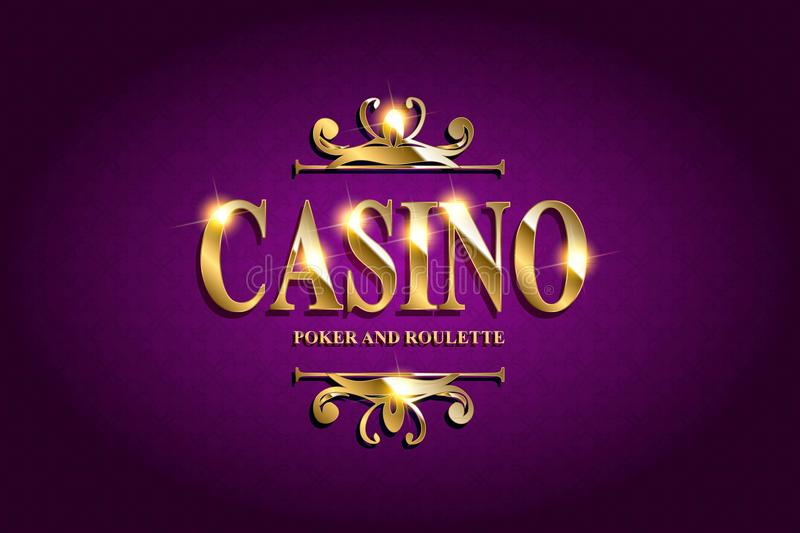 Casino Poster Background. Or Flyer with Falling Golden Money Coins. Vector Template. Casino Banner. Casino Games Gambling Template background stock illustration