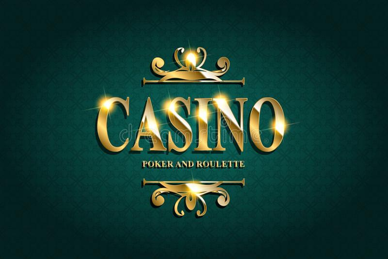 Casino Poster Background. Or Flyer with Falling Golden Money Coins. Vector Template. Casino Banner. Casino Games Gambling Template background vector illustration