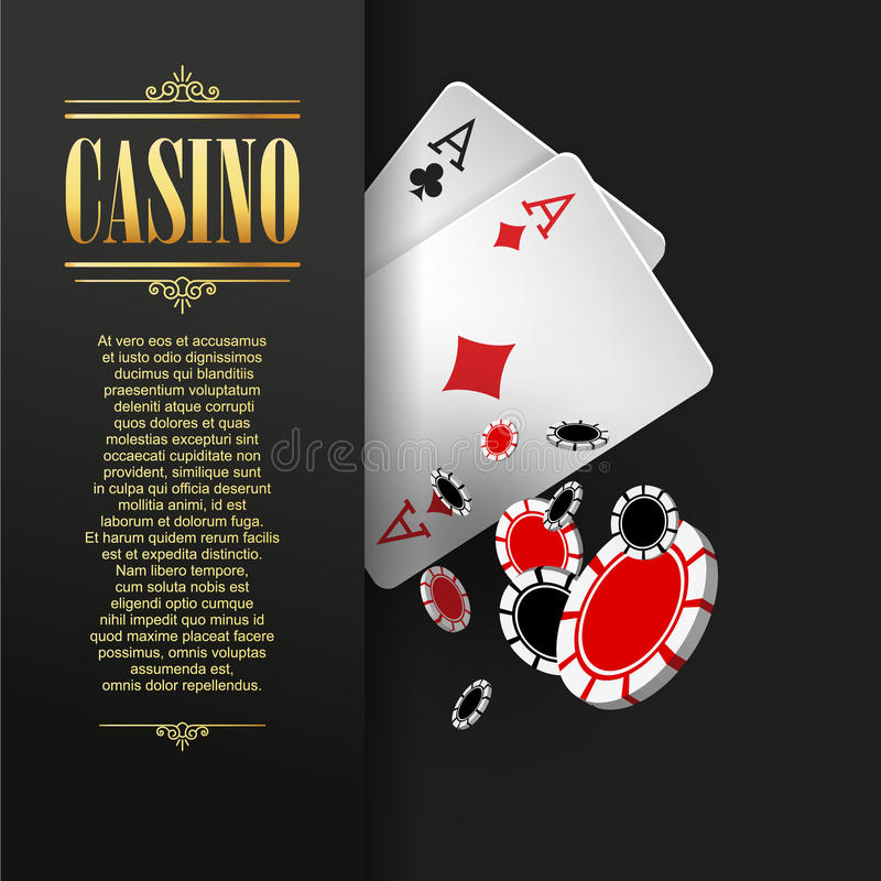 Casino poster or banner background or flyer template. Casino invitation with Playing Cards and Poker Chips. Game design. Playing casino games. Vector vector illustration