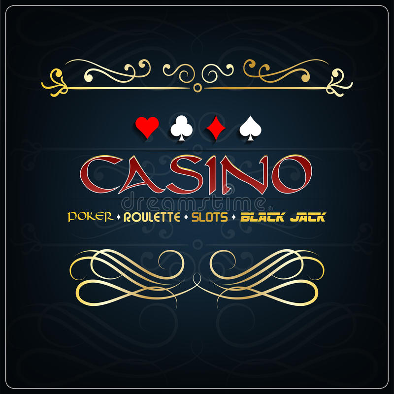 Casino for poster on a blue background with gaming elements. Illustration of Casino for poster on a blue background with gaming elements royalty free illustration