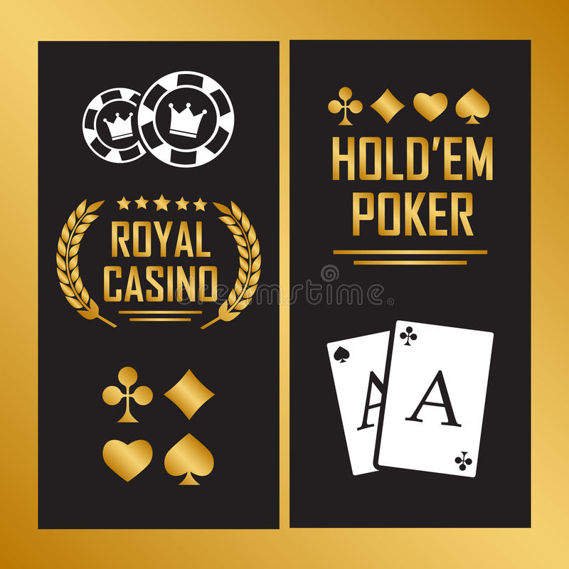Casino poster with cards for poker play chips. Eps 10 royalty free illustration