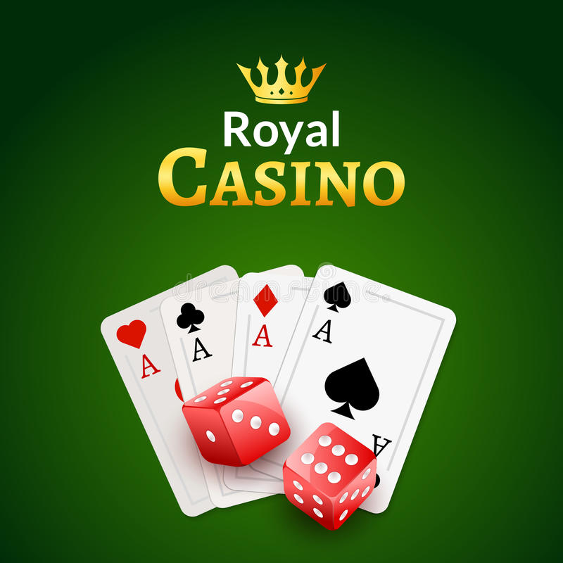 Casino poster design template. Dice and poker cards background. Gambling illustration vector illustration