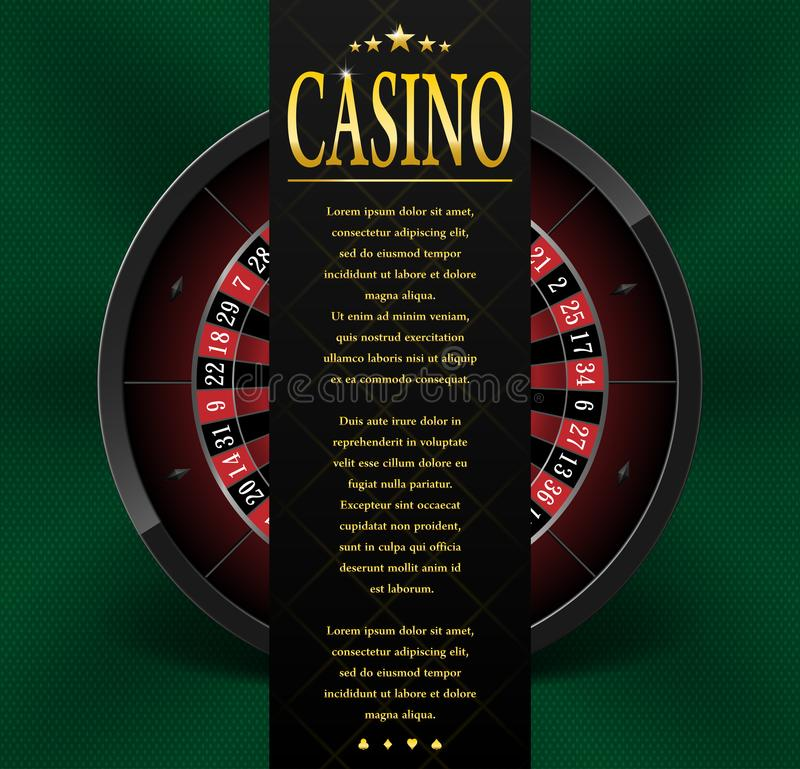 Casino poster or flyer design. Casino banner template with Roulette Wheel isolated on green background. Playing casino vector illustration