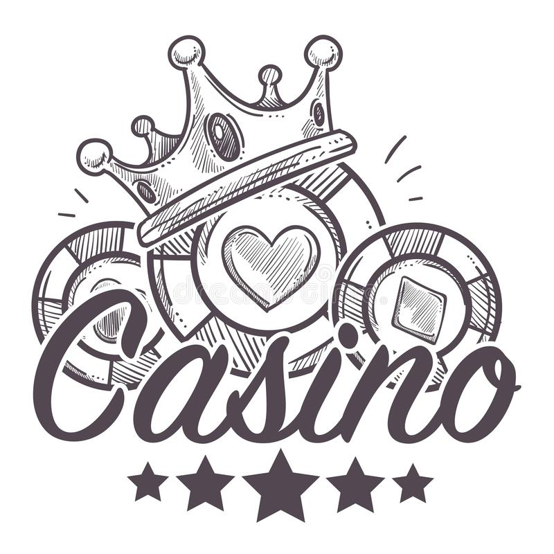 Casino poster, gambling playing in poker with chips. Vector. Colorless monochrome sketch outline with royal wealthy crown, hearts and diamonds on play objects royalty free illustration