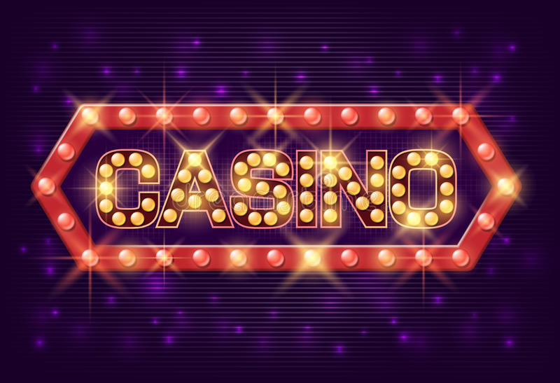 Casino poster vintage style. Casino banner with glowing lamps for online casino, poker, roulette, slot machines, card royalty free illustration