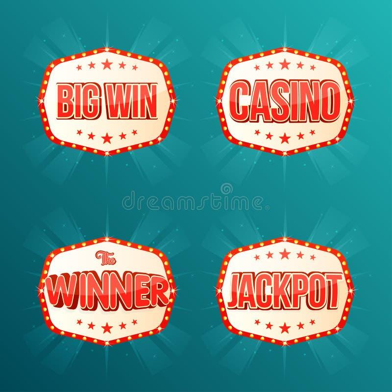 Casino, Pot, de winnaar, Grote winst, bannersinzameling Retro lichte kaders met gloeiende lampen vector illustratie