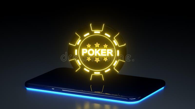 Casino que joga Chip Concept e o telefone esperto com as luzes de néon de incandescência isoladas no fundo preto - ilustração 3D ilustração do vetor