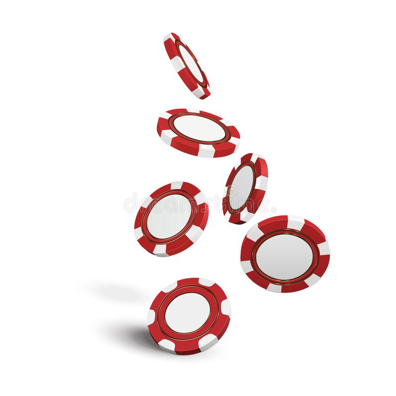 Casino red chips isolated on white realistic 3d objects. Online casino banner. Red realistic chip in the air. Gamblin stock illustration