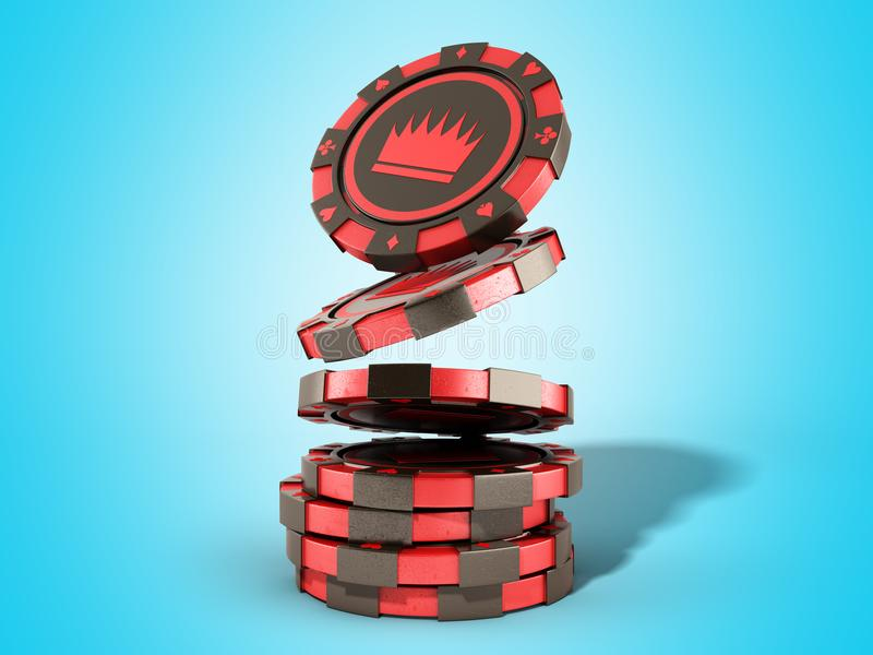 Casino red chips stack on blue realistic 3d render objects. Casino red chips stack on blue realistic 3d render royalty free illustration