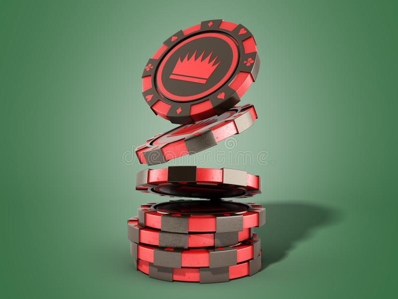 Casino red chips stack on green realistic 3d render objects. Casino red chips stack on green realistic 3d render stock illustration