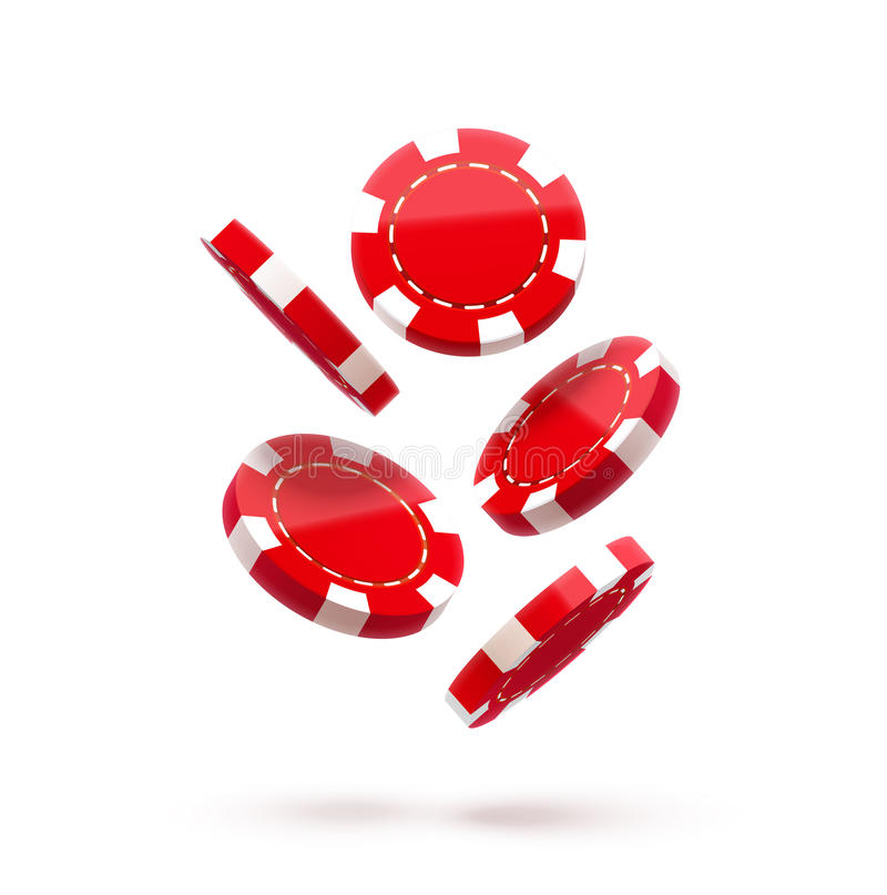Casino red chips, on white, chip icon, in air, fall down, realistic objects, with shadows royalty free illustration