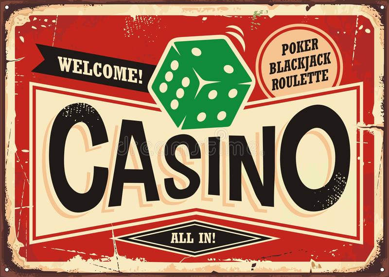 Casino retro sign. Vintage tin sign with green dice on red background, Casino gambling sign board decoration royalty free illustration