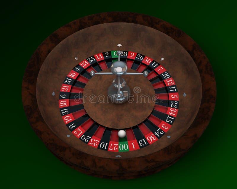 Casino roulette. On green table stock illustration
