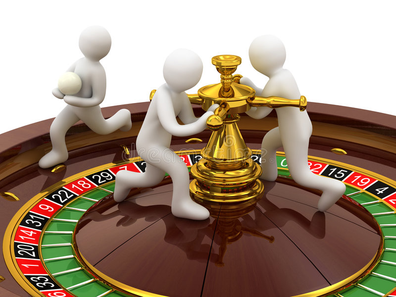 Casino, roulette. Roulette, casino and people on white background vector illustration