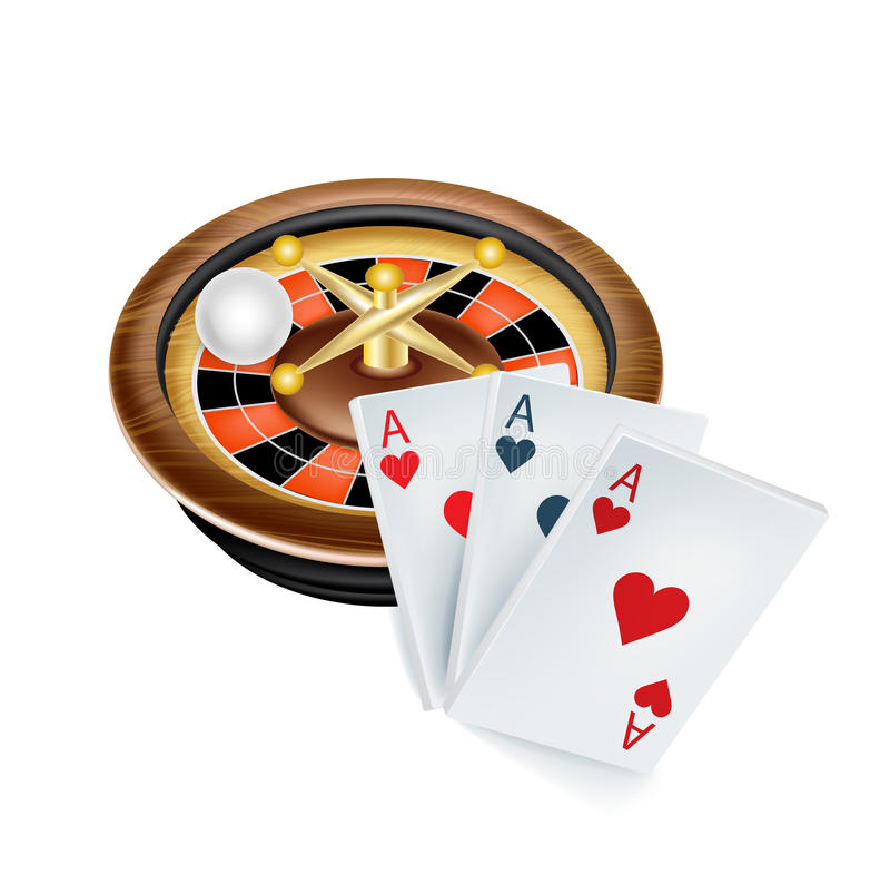 Casino roulette and aces on white. Background stock illustration