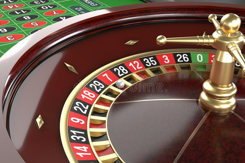 Casino roulette background. Close up of a roulette betting game. Luxury, good time, gaming addiction concept. Graphic design element for flyers, invitations stock illustration