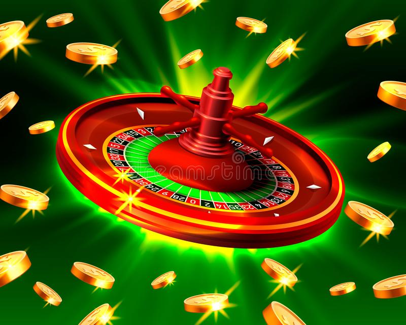 Casino roulette big win coins background. Casino roulette big win coins on the green background. Vector illustration royalty free illustration
