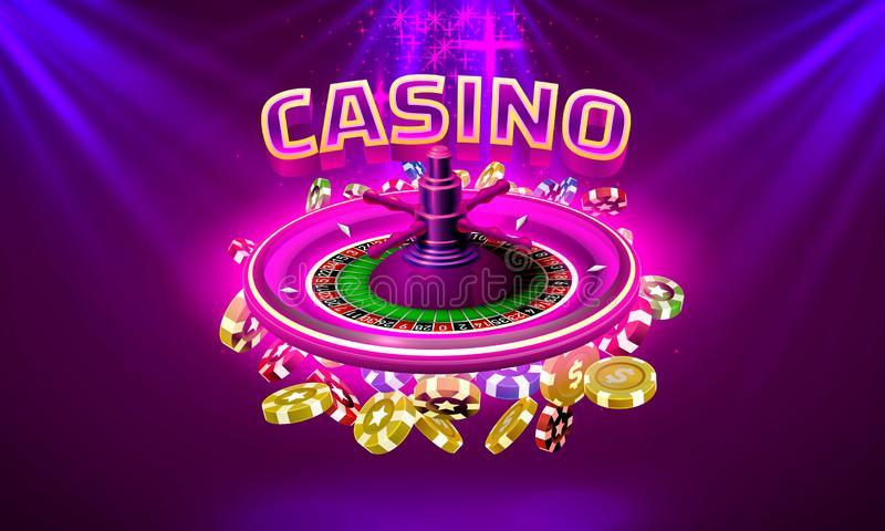 Casino roulette big win coins on the purple background. Vector illustration vector illustration