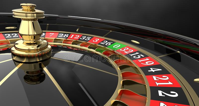 Casino roulette wheel 3D stock illustration