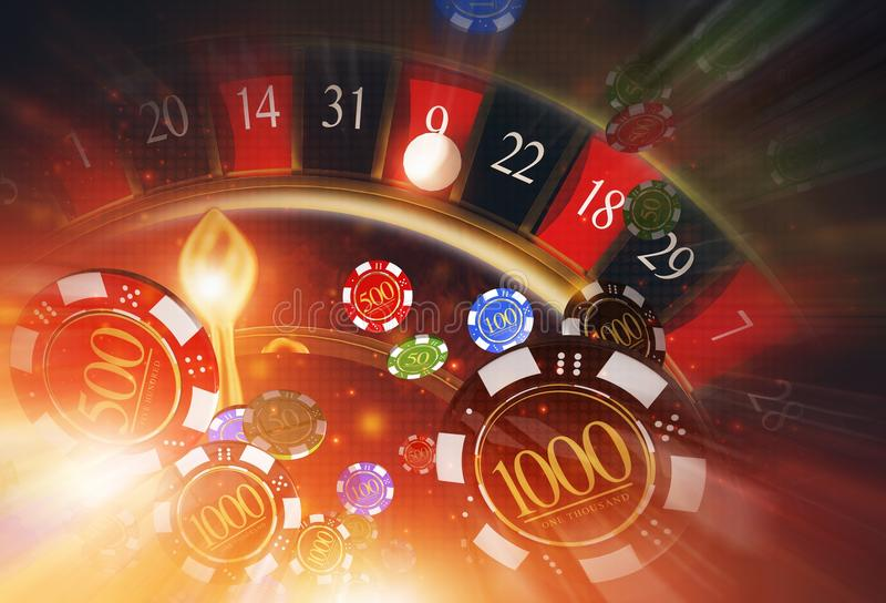 Casino Roulette Blowing Chips vector illustration