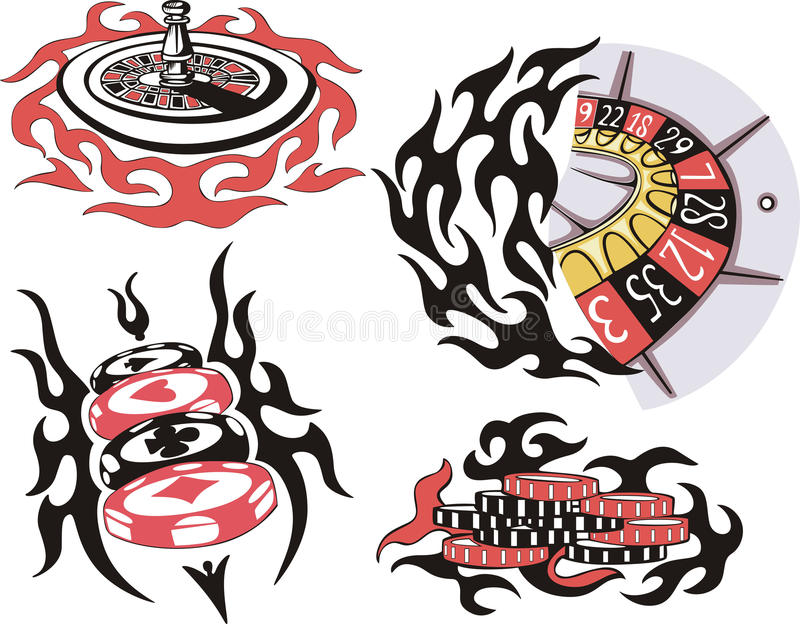 Casino roulette and chips. Set of color vector illustrations royalty free illustration
