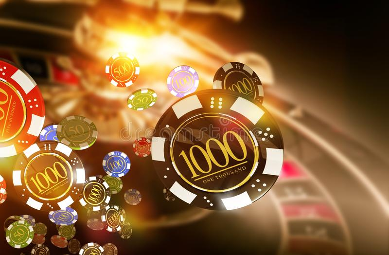 Casino Roulette Chips Blow. Golden Casino Roulette Chips Blow Concept 3D Render Illustration. Gambling Theme royalty free illustration