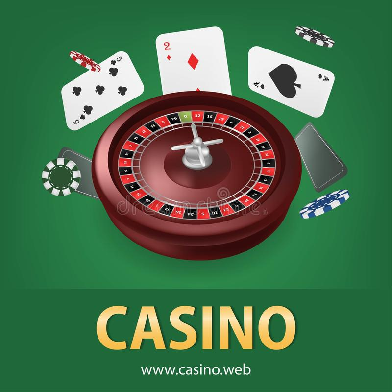 Casino roulette with chips,cards realistic gambling poster banner. Casino vegas fortune roulette wheel design flyer royalty free illustration
