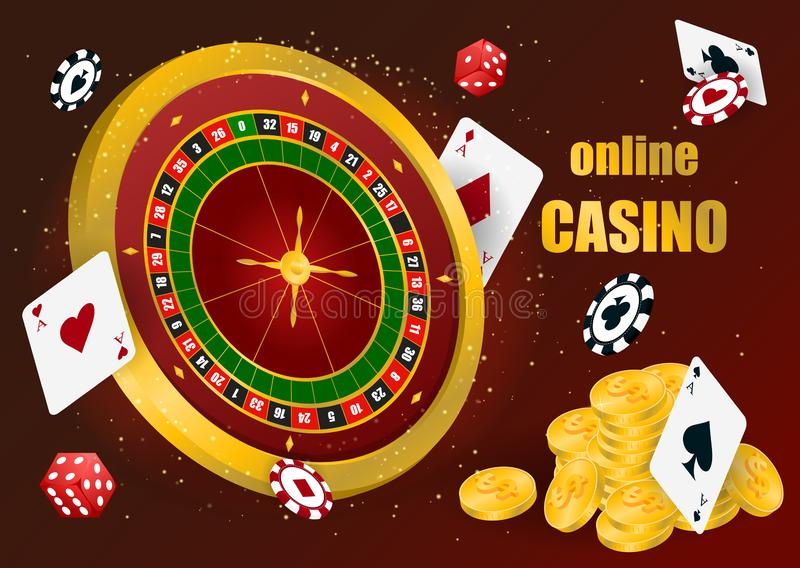 Casino roulette with chips stock illustration