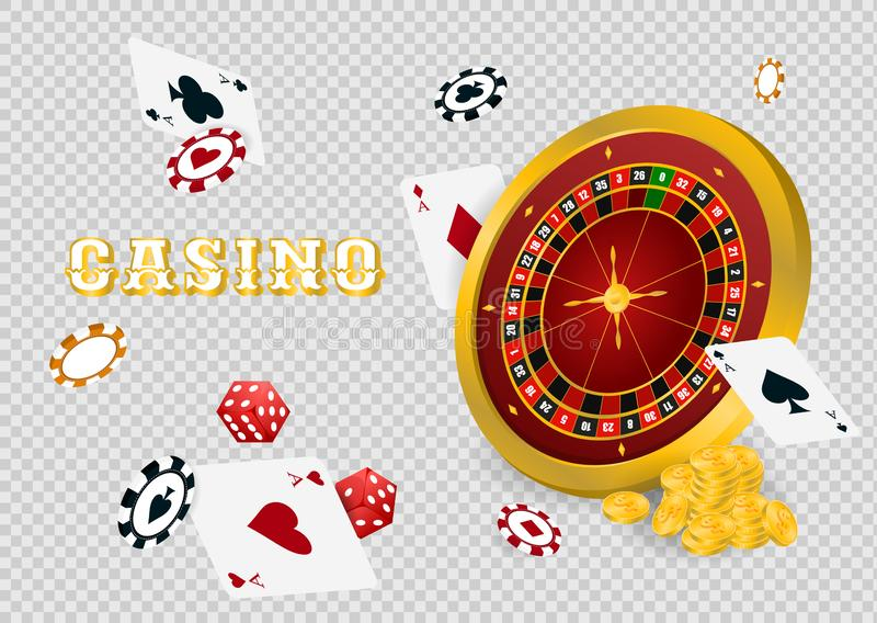 Casino roulette with chips. Red dice and coins realistic gambling poster banner. Casino vegas fortune roulette wheel design flyer. Gambling concept, poker vector illustration
