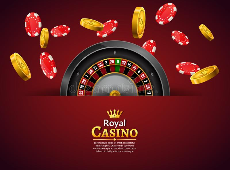 Casino roulette with chips and coins realistic gambling poster banner. Casino vegas fortune roulette wheel design. Flyer illustration stock illustration