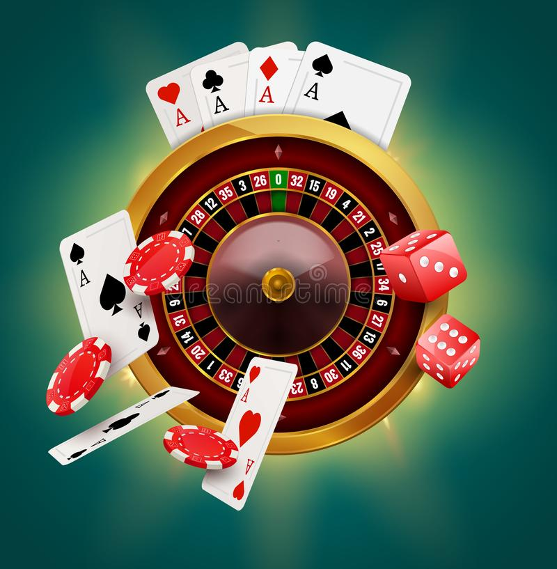 Casino roulette with chips, coins and red dice realistic gambling poster banner. Casino vegas fortune roulette wheel design flyer vector illustration