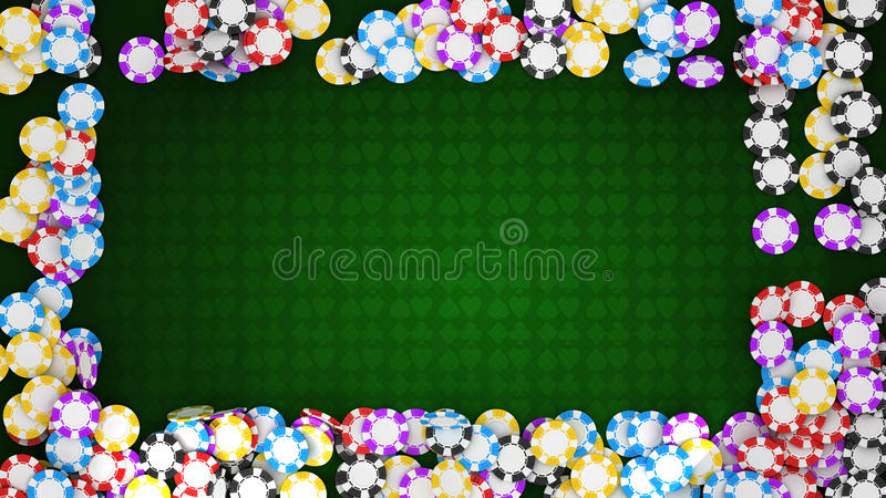 Casino or roulette chips frame on green table vector illustration