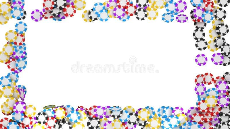 Casino or roulette chips framing on white vector illustration