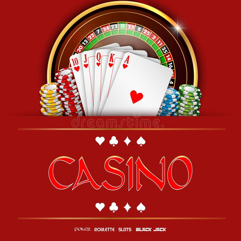 Casino roulette with chips and playing cards. Illustration of Casino roulette with chips and playing cards royalty free illustration