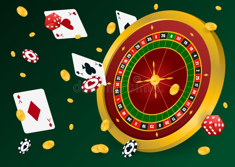 Casino roulette with chips. Red dice and coins realistic gambling poster banner. Casino vegas fortune roulette wheel design flyer. Gambling concept, poker stock illustration