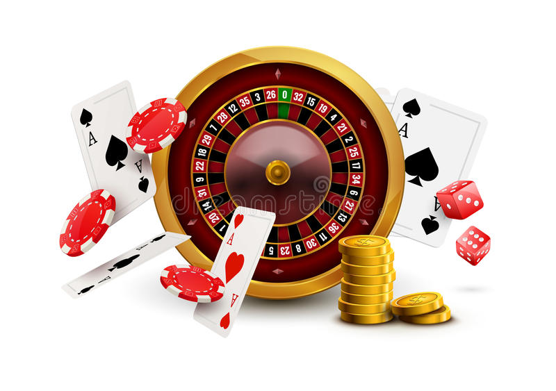 Casino roulette with chips, red dice realistic gambling poster banner. Casino vegas fortune roulette wheel design flyer.  stock illustration