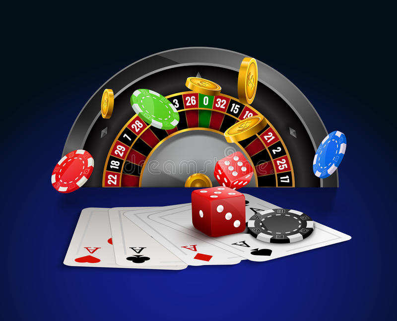 Casino roulette with chips, red dice realistic gambling poster banner. Casino vegas fortune roulette wheel design flyer.  royalty free illustration