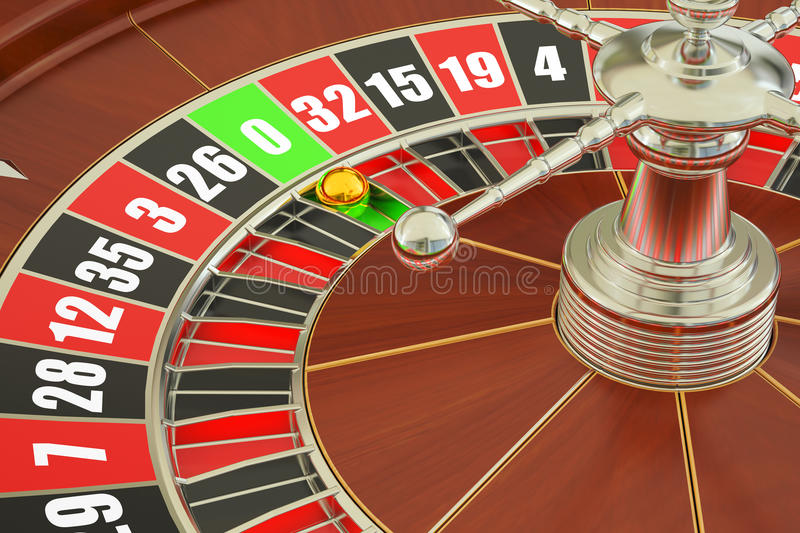 Casino roulette, closeup. 3D rendering royalty free illustration