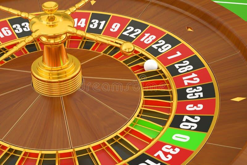 Casino roulette, closeup. 3D rendering stock illustration