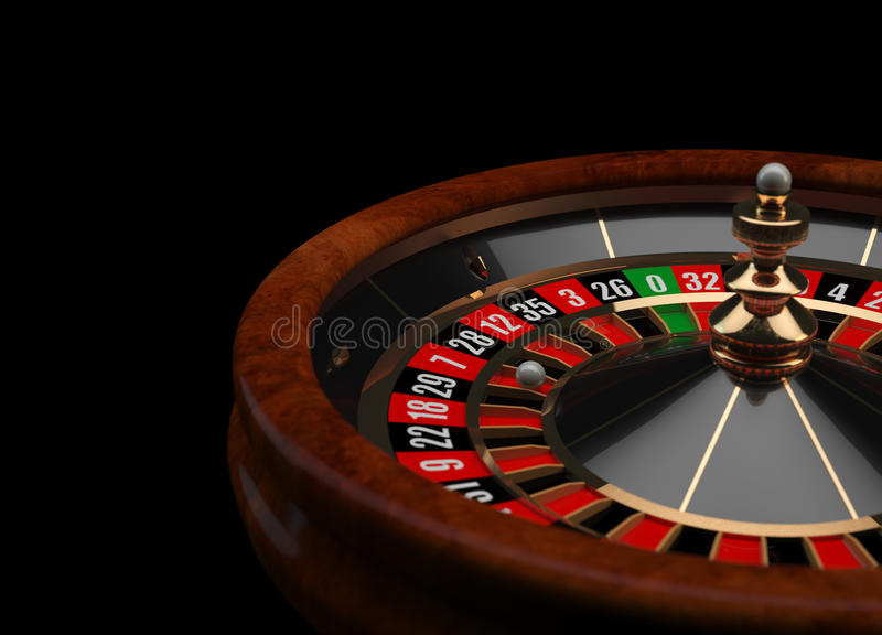 Casino Roulette 3D. Casino roulette wheel rendered in 3D, isolated on black background stock illustration