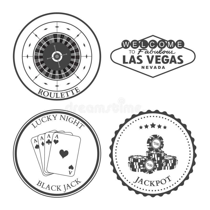 Casino Roulette design elements and badges set. Casino Roulette Las Vegas Black Jack Jackpot design elements and badges set. Vector illustration stock illustration