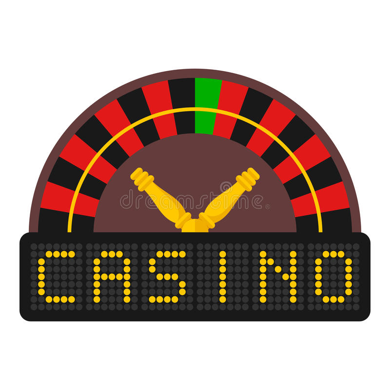 Casino Roulette Flat Icon Isolated on White stock illustration